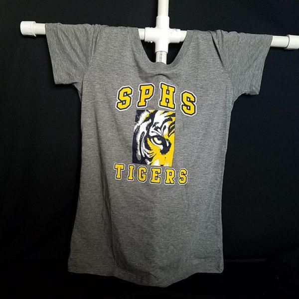Women's Gray Scoop Neck Tiger T-Shirt
